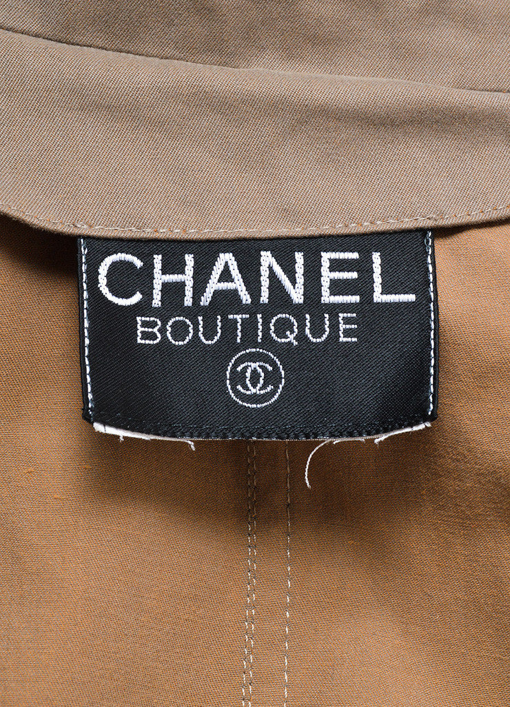 "Chanel Grey ""CC"" Button Double Breasted Ankle Length Trench Coat Brand"