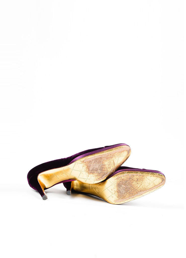 "Purple Velvet Chanel ""CC"" Platform Pumps Outsoles"