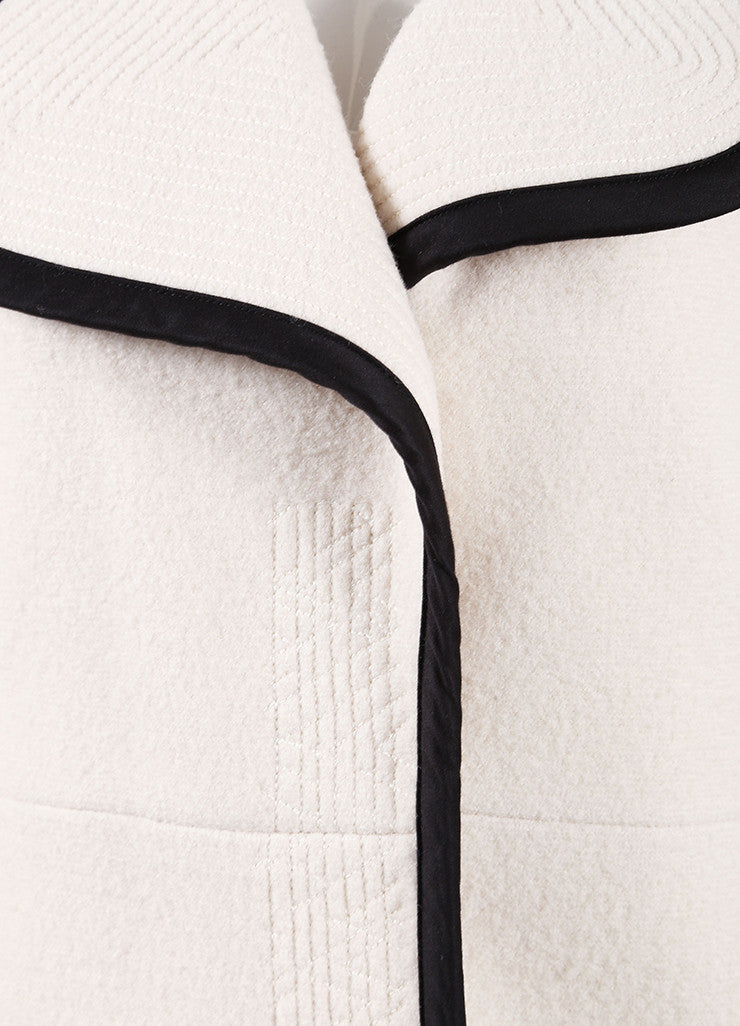 Chloe Cream and Black Wool and Satin Trim Long Sleeve Trench Coat Detail
