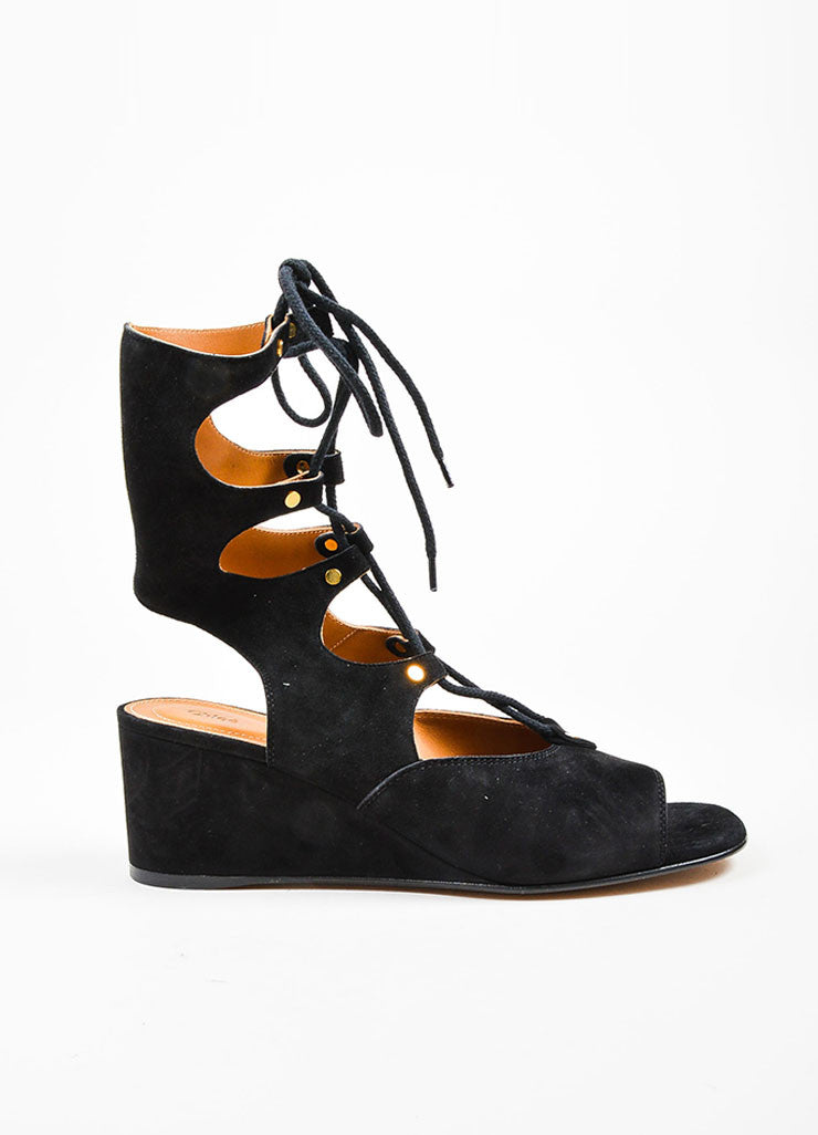 Black Chloe Suede Leather Lace Up Gladiator Wedge Sandals Sideview