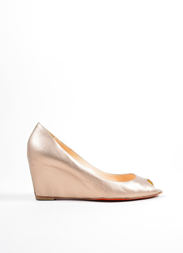 Christian Louboutin Gold Leather Metallic Peep Toe Wedge Sideview