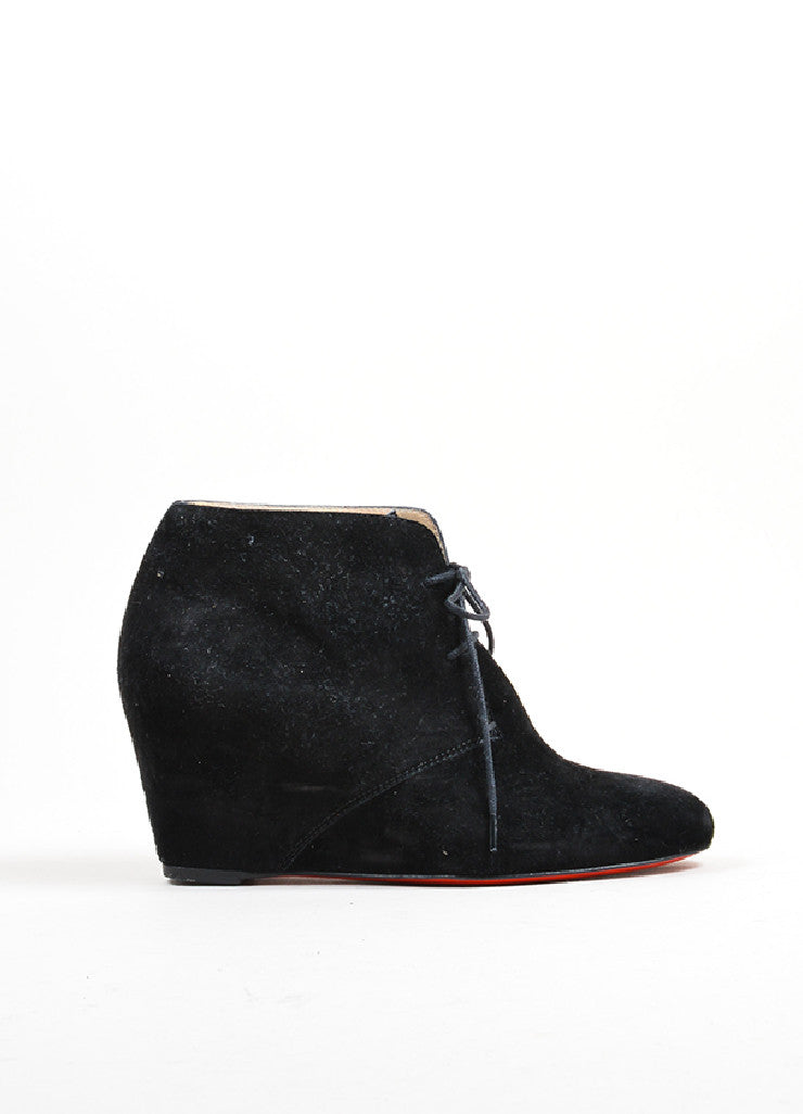 Black Christian Louboutin Suede Leather Lace Up Wedge Ankle Booties Sideview