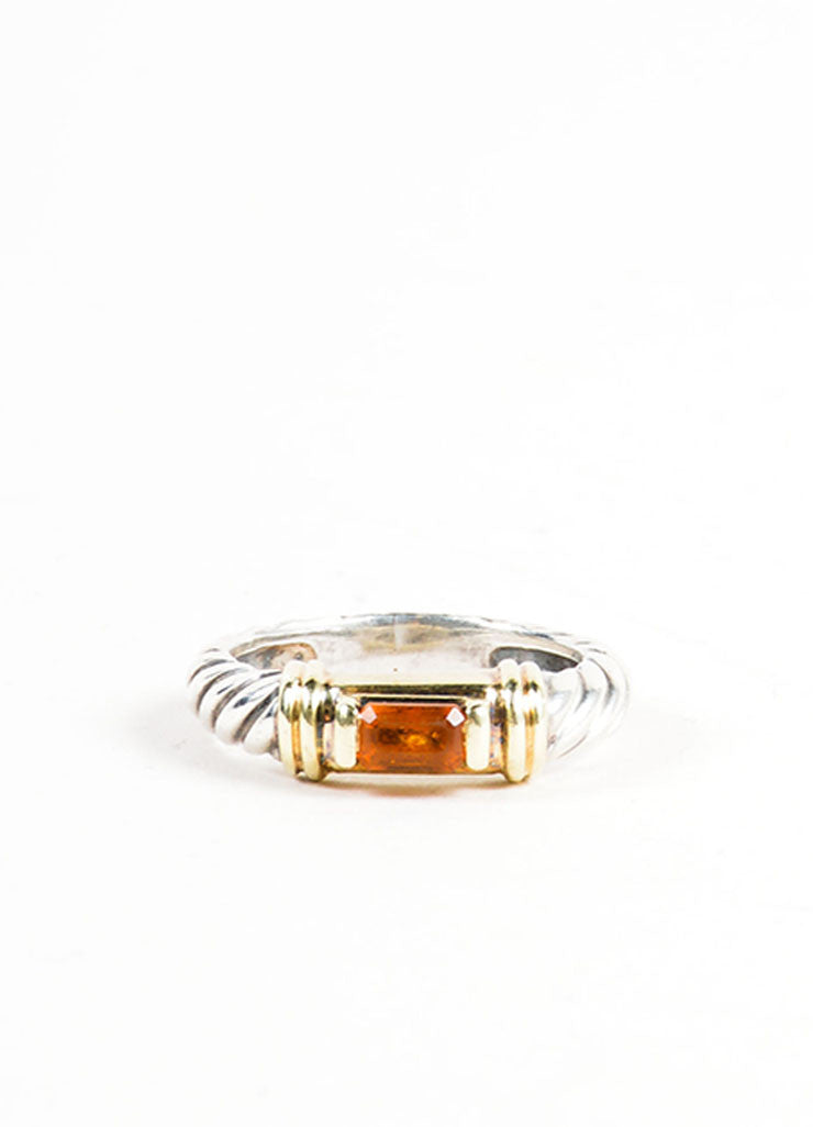 Sterling Silver, 14K Gold, and Citrine Embellished David Yurman Cable Ring Frontview
