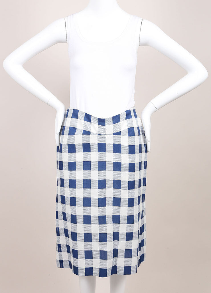 Derek Lam New With Tags Blue and White Checkered Plaid Silk Blend Seamed Skirt Frontview
