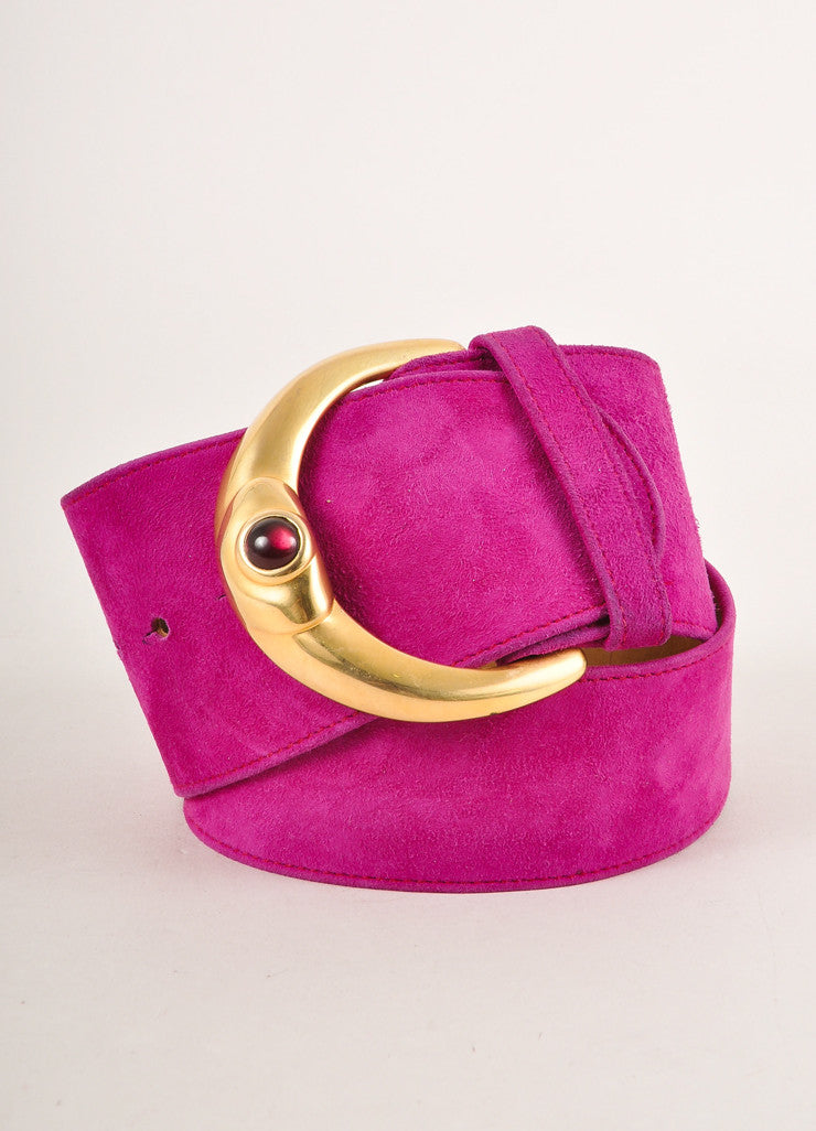 Donna Karan Collection Magenta Suede Gold Toned Buckle Belt Frontview