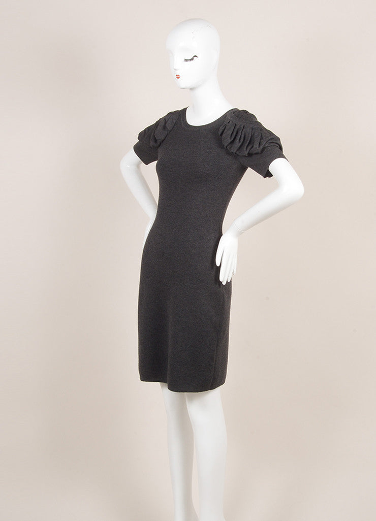 Fendi Charcoal Grey Wool Ruched Short Sleeve Fitted Dress Sideview