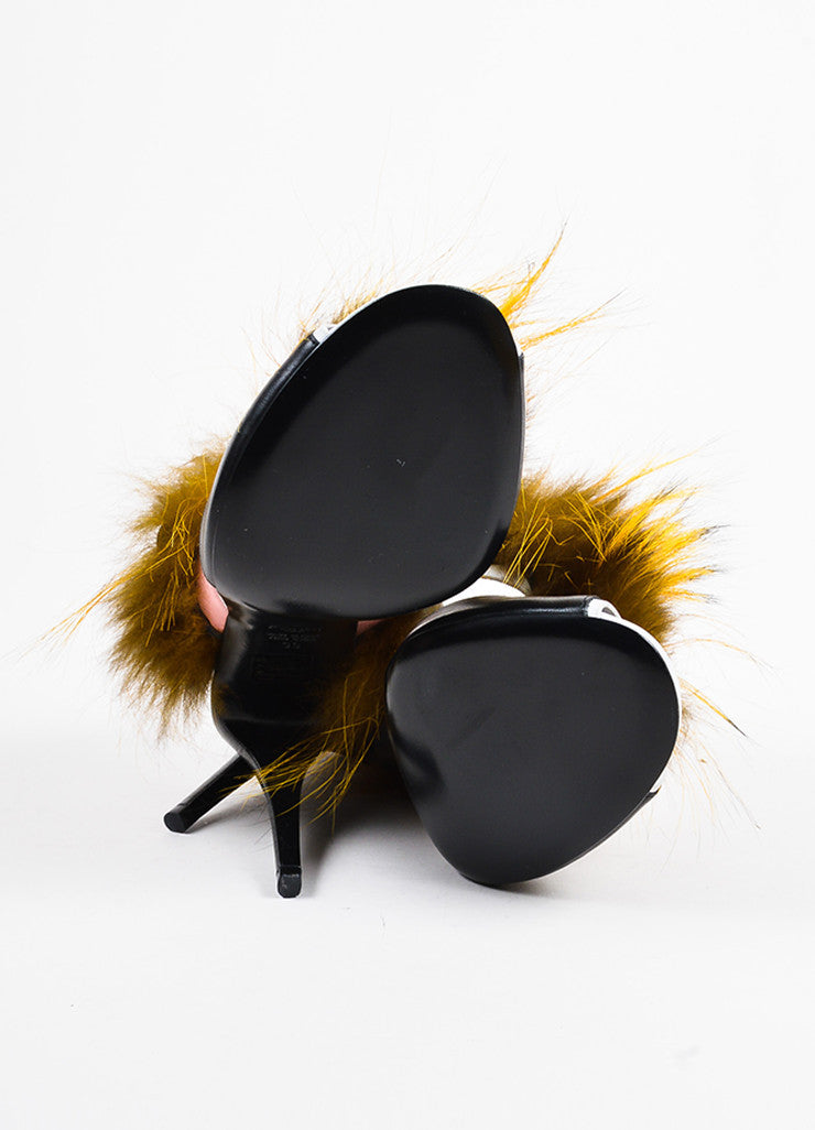 "Black Leather and Fox Fur Fendi ""Bugs Fur Monster"" Cutout Sandals Outsoles"