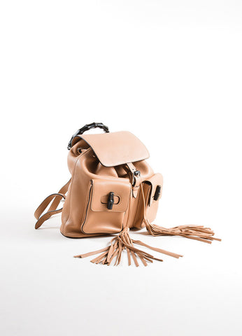 Gucci Rose Beige Grain Leather Bamboo Tassel Backpack Bag Sideview