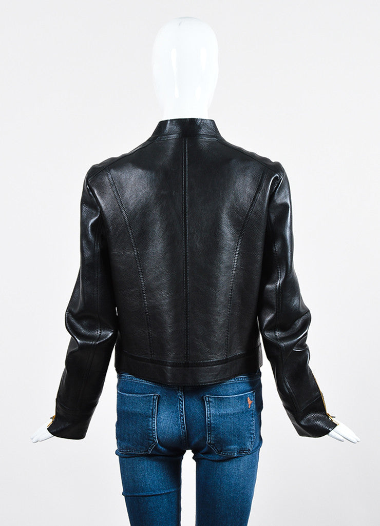 Gucci Black Leather Gold Toned Moto Zip Jacket Backview