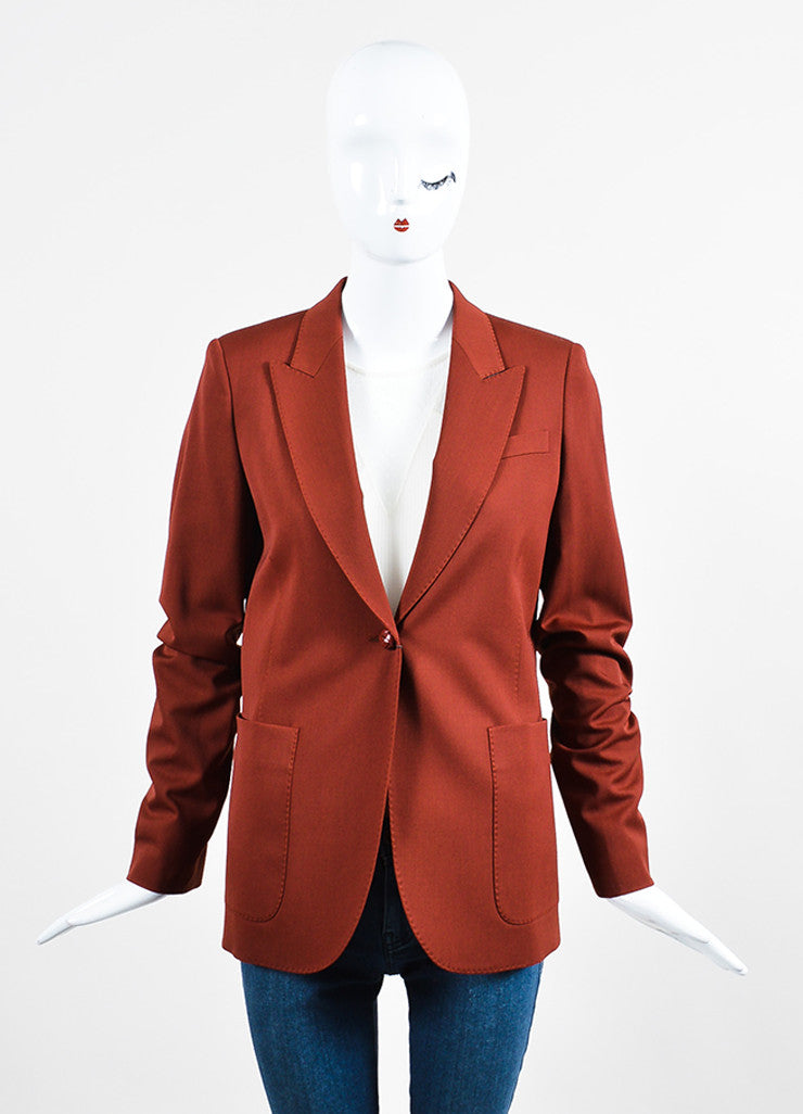 Brick Red Gucci Wool Long Sleeve Blazer Jacket Frontview 2