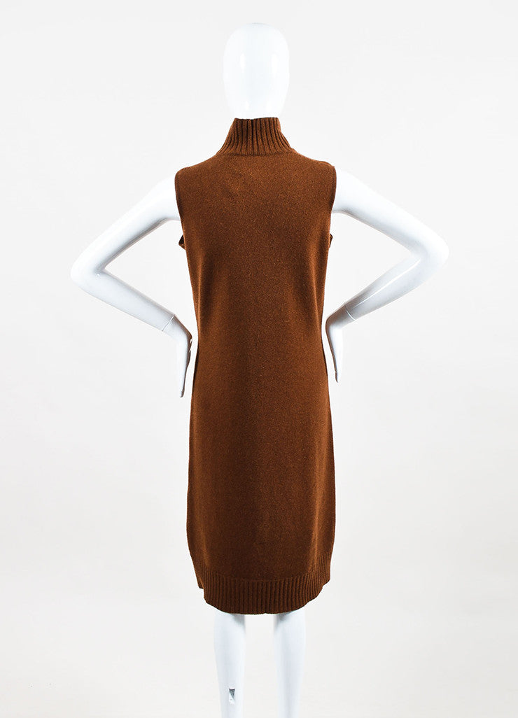 Hermes Brown Turtleneck Ribbed Trim Sleeveless Sweater Dress Backview