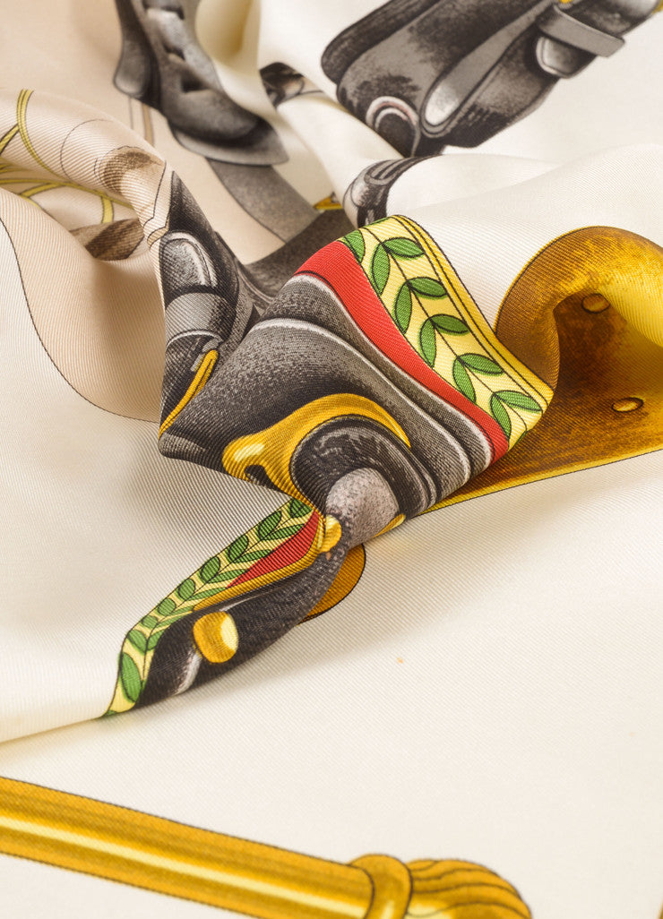 "Hermes White, Gold, and Green Silk ""Carrick a Pompe"" Carriage Saddle Print Scarf Detail"