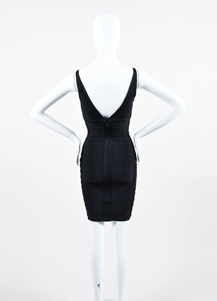 Black and Gold Herve Leger Bandage Knit Buckle Sleeveless Bodycon Dress Backview