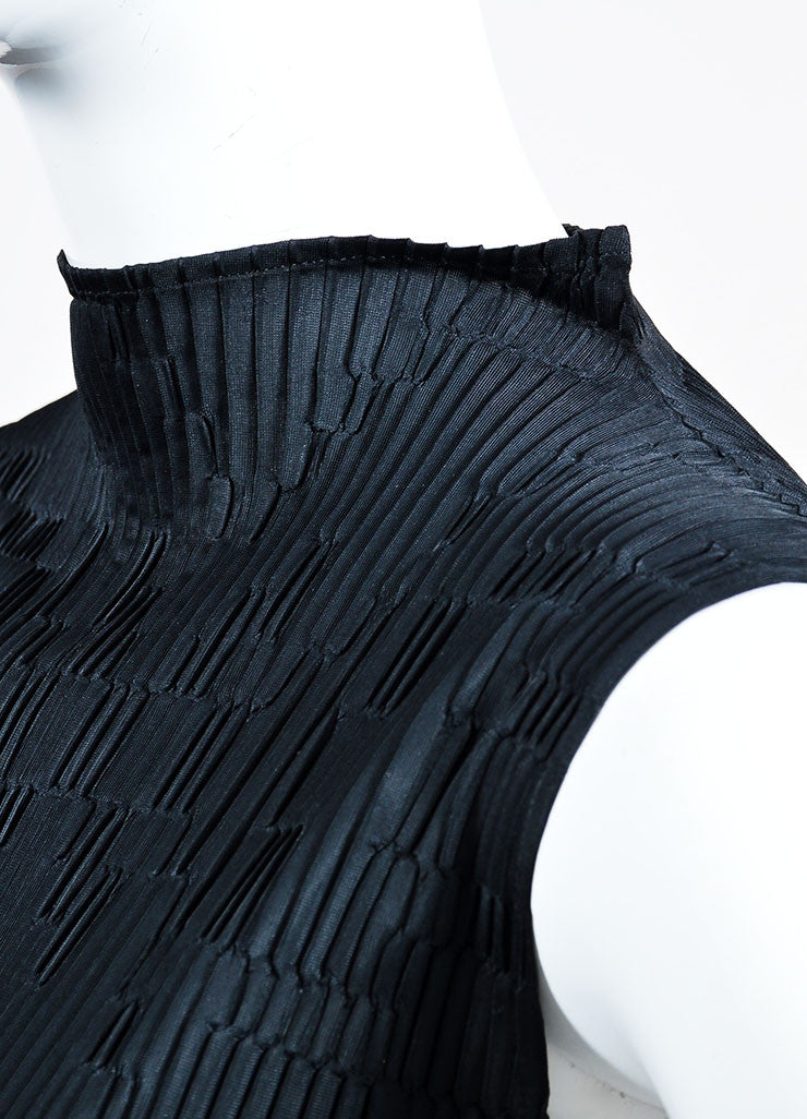 Black Issey Miyake Micro Pleat Textured Sleeveless Stand Collar Maxi Dress Detail