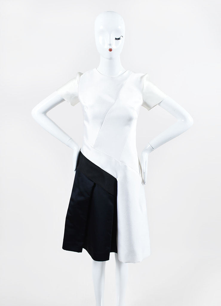 White, Black, and Navy J. Mendel Silk Scuba Short Sleeve Color Block Dress Frontview