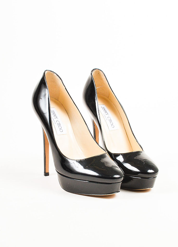 Jimmy Choo Black Patent Leather Round Toe High Heel Platform Pumps Frontview