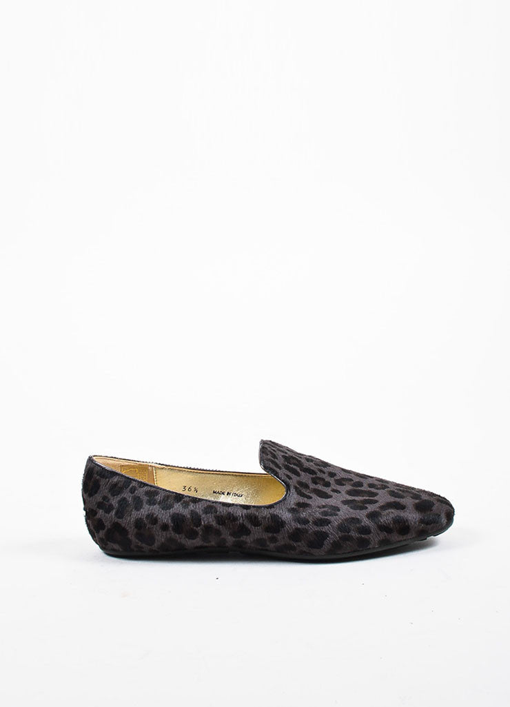 "Jimmy Choo Grey and Brown Pony Hair Leopard Print ""Wheel"" Loafers Sideview"