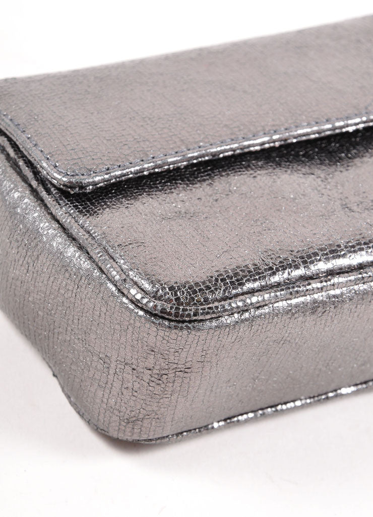 Judith Leiber Grey Metallic Leather Chain Strap Clutch Bag Detail