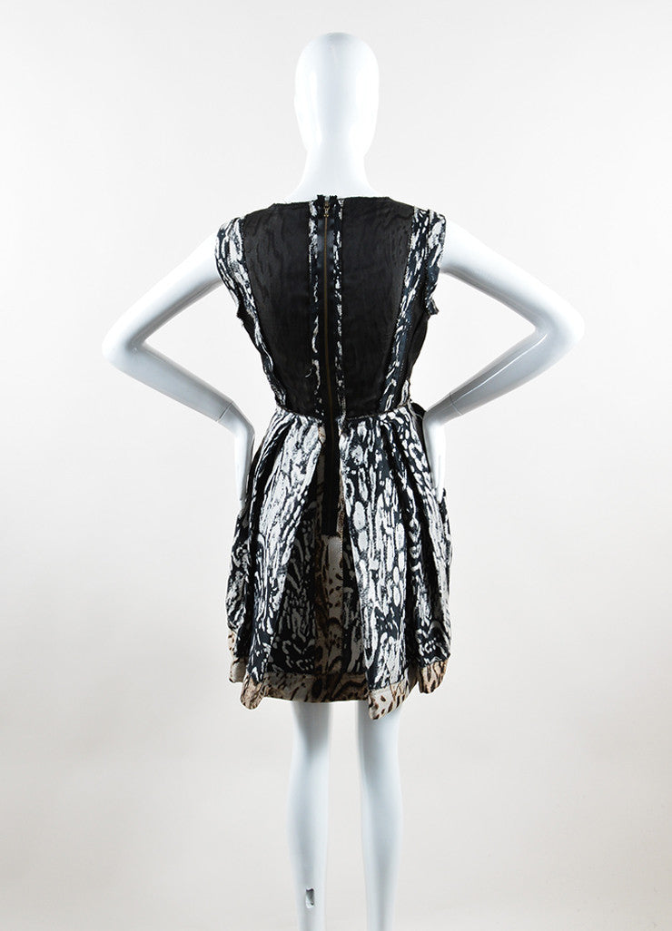 Lanvin Black and Brown Animal Print Pleated Sleeveless Dress Backview