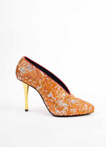 Lanvin Orange, Silver, and Gold Leather Sequined Pumps Sideview