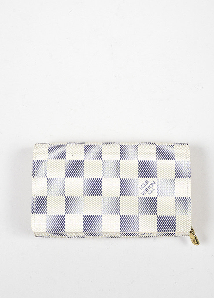 "Cream and Blue Louis Vuitton ""Damier Azur"" Coated Canvas Hidden Snap Wallet Frontview"