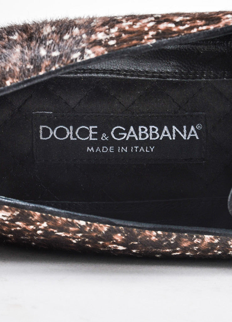 Men's Dolce & Gabbana Brown White Ponyhair Spotted Loafers Brand