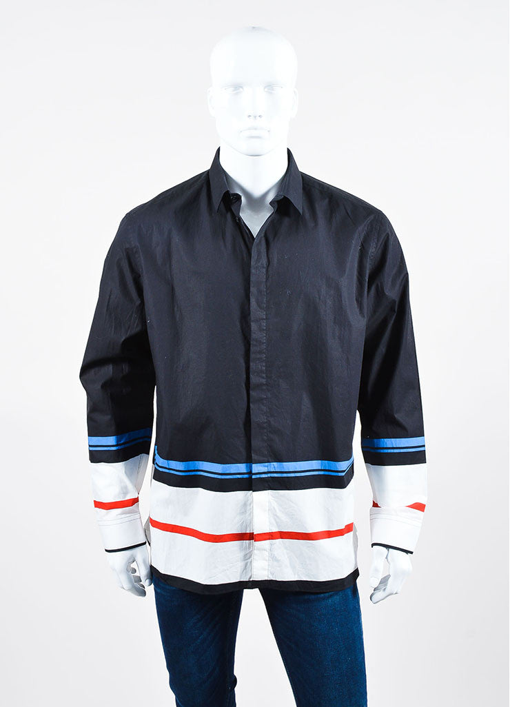 Men's Black White Blue Givenchy Striped Button Down Shirt Front