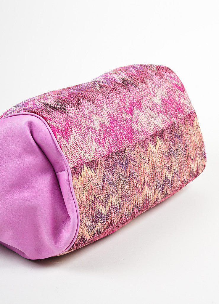 Pink and Multicolor Missoni Leather and Textile Chevron Zig Zag Shoulder Bag Bottom View