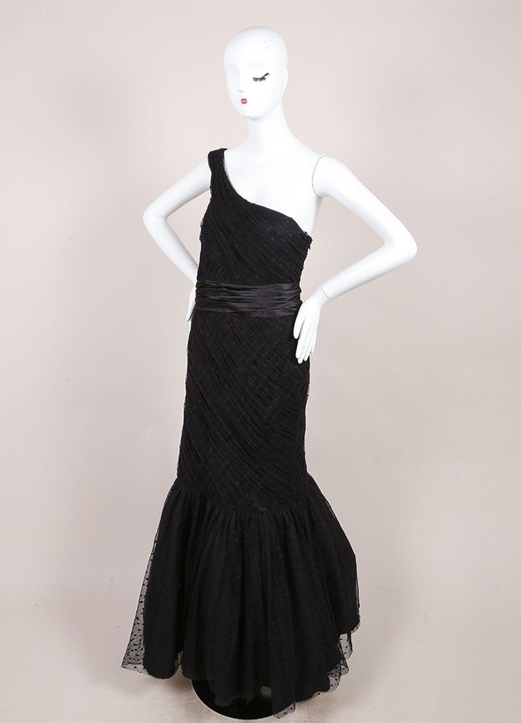 Monique Lhuillier Black Organza Dotted One Shoulder Gown Sideview