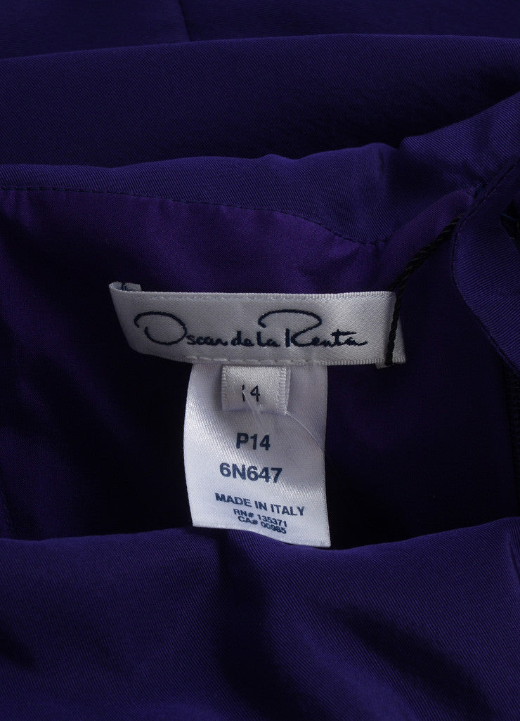 Oscar de la Renta New With Tags Purple Off Shoulder Silk Faille Sheath Dress Brand