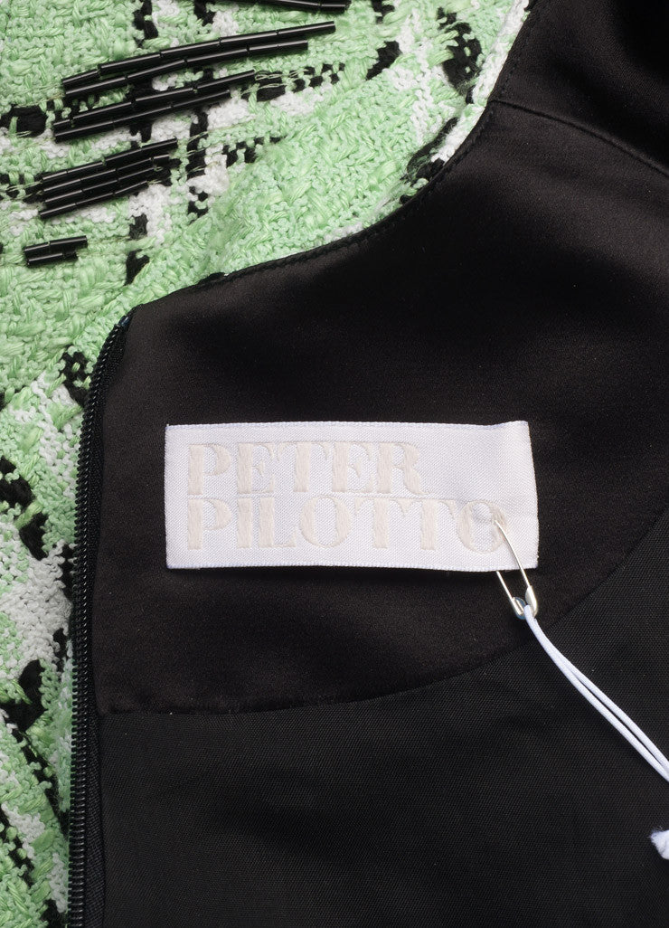 "Peter Pilotto New With Tags Light Green and Black Tweed Woven Plaid ""Zoom"" Dress Brand"