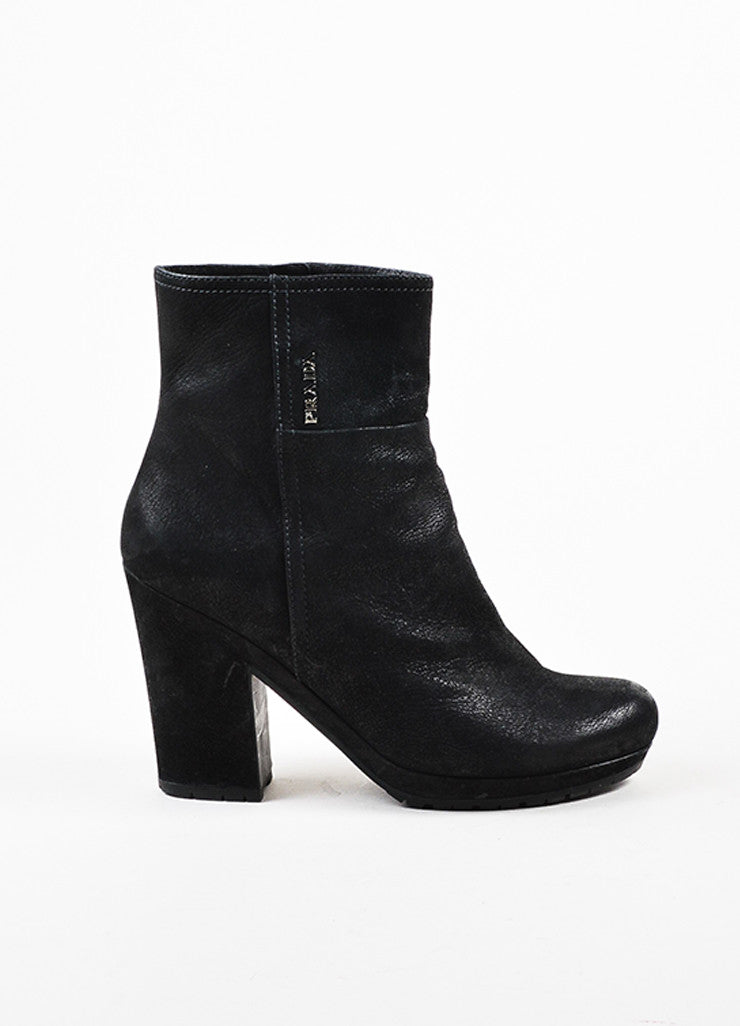 å´?ÌÜPrada Sport Black Treated Leather Block Heel Lug Sole Zip Ankle Boots Sideview
