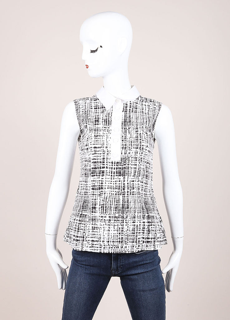 Prada White and Black Woven Graphic Print Sleeveless Top Frontview