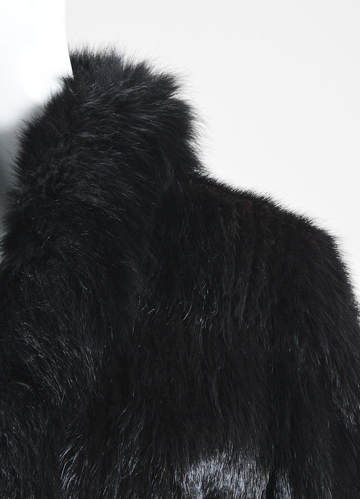 Black Saga Mink Fur High Collar Long Sleeve Fur Coat Detail