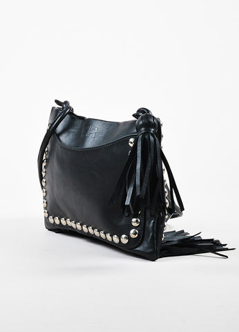 Sonia Rykiel Black Leather Silver Toned Studded Fringe Crossbody Bag Sideview