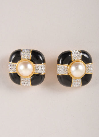 Swarovski Black, Crystal, and Faux Pearl Square Earrings Frontview