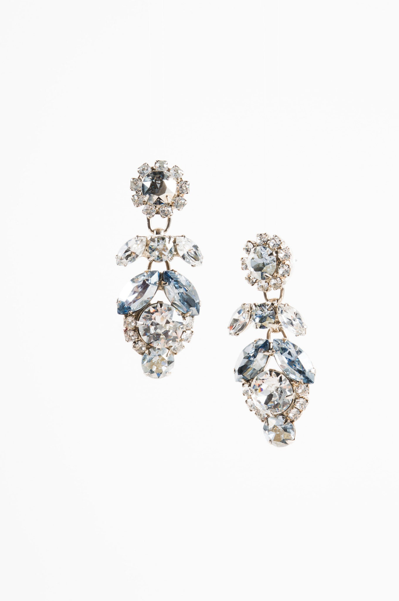 Thorin & Co. Light Blue Crystal Rhinestone Embellished Drop Earrings Frontview