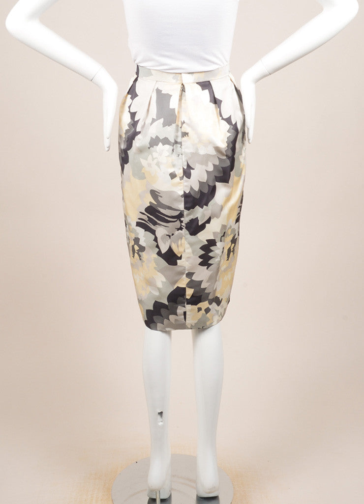 Bill Blass Grey, Cream, and White Floral Print Pencil Skirt Backview