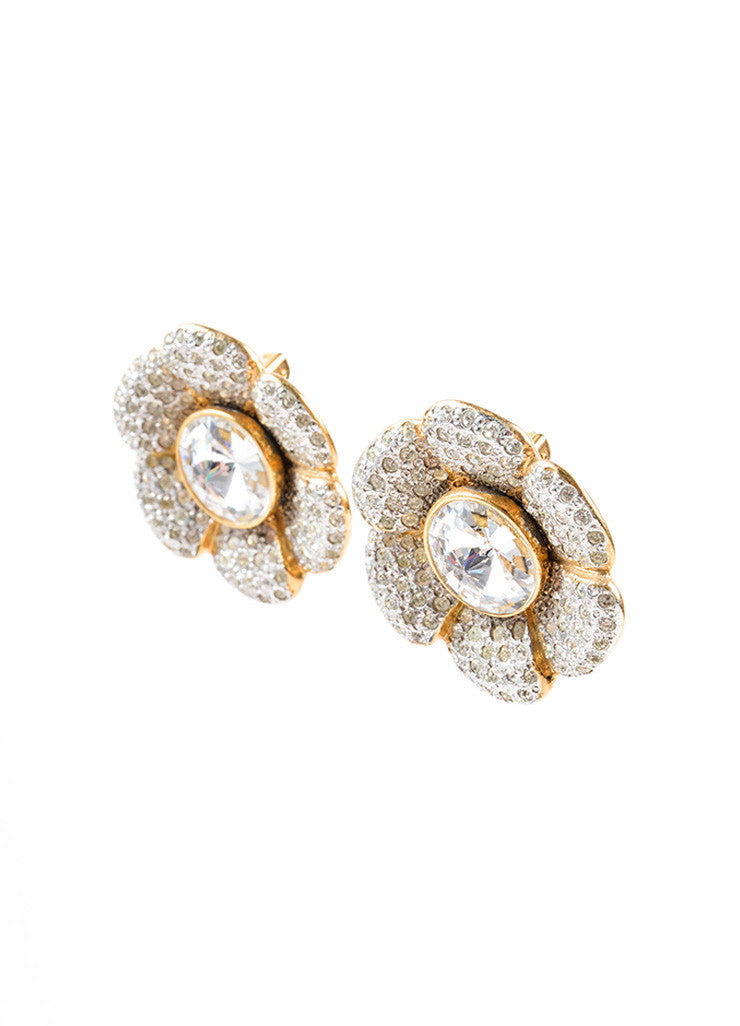 Celine Gold Toned Rhinestone Crystal Flower Earrings Sideview
