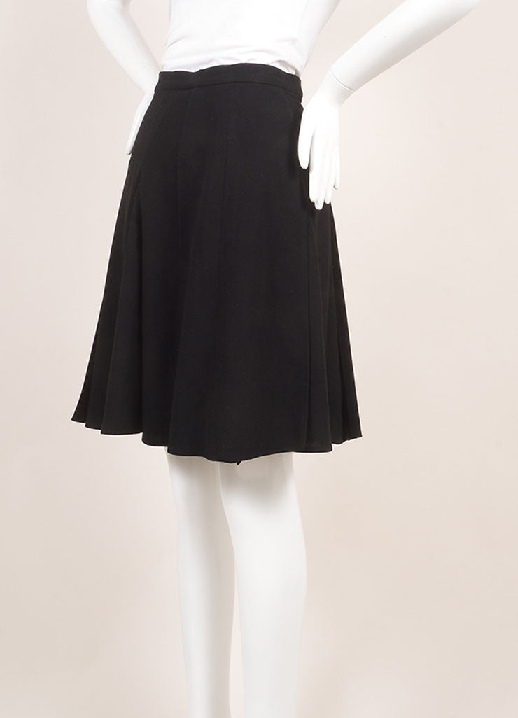 Chanel Black Pleated Wool Knee Length Skirt Sideview