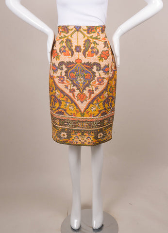 Christian Dior White and Yellow Silk Baroque Print Quilted Skirt Frontview