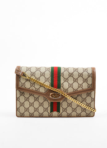 Gucci Taupe and Brown Coated Canvas Leather Trim Clutch Bag Frontview