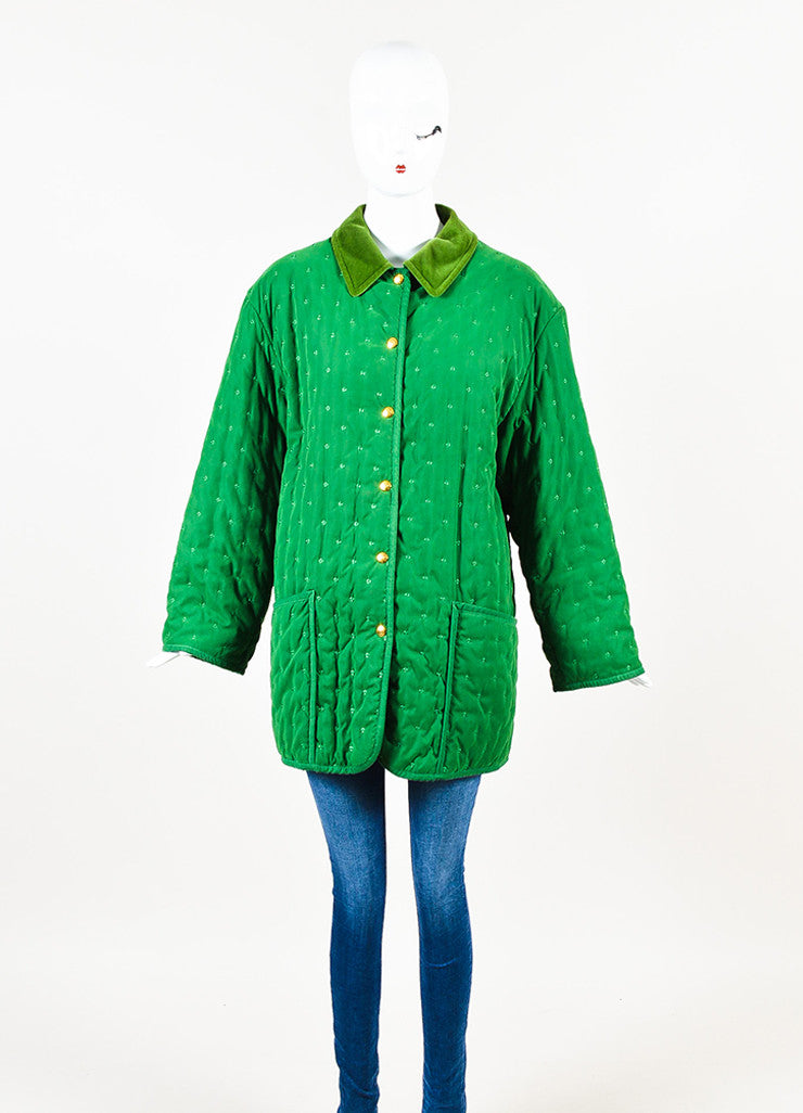Hermes Green Embroidered Quilted Velvet Collar Oversized Jacket Frontview 2