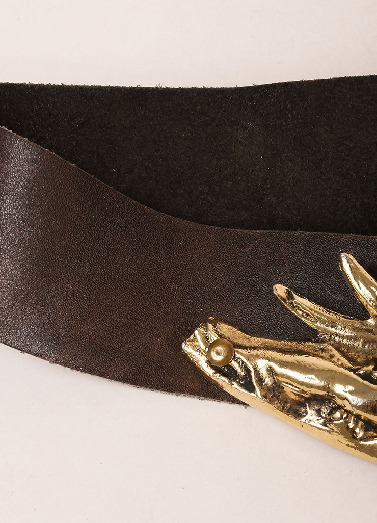 Jose Cotel Dark Brown and Gold Toned Greek Figure Buckle Leather Belt Detail 2