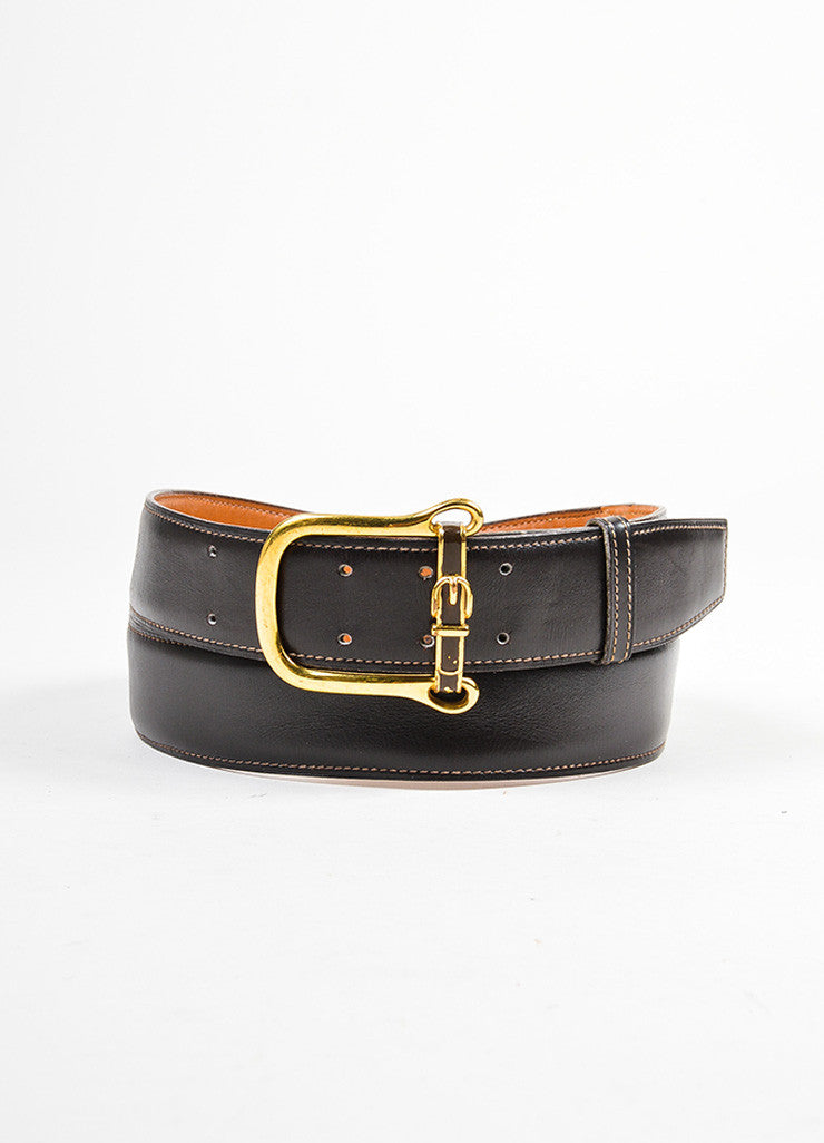 Men's Hermes Brown Leather Gold Toned Buckle Belt Frontview