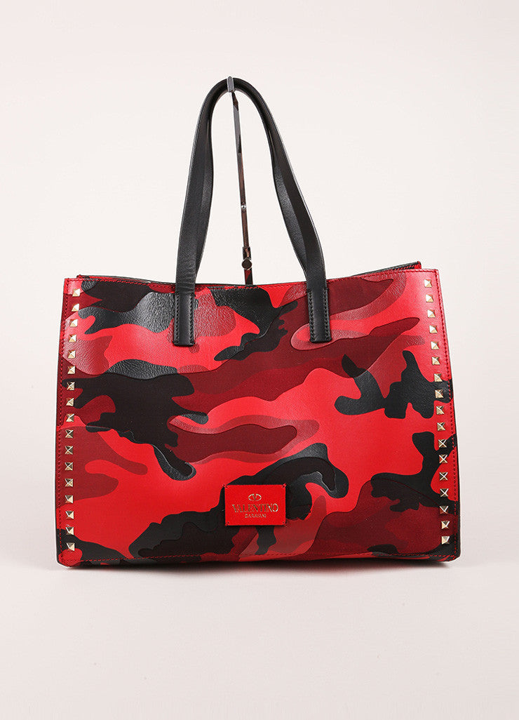 "Valentino Red and Black Leather and Canvas Camo Medium Soft ""Rockstud"" Tote Bag  Frontview"