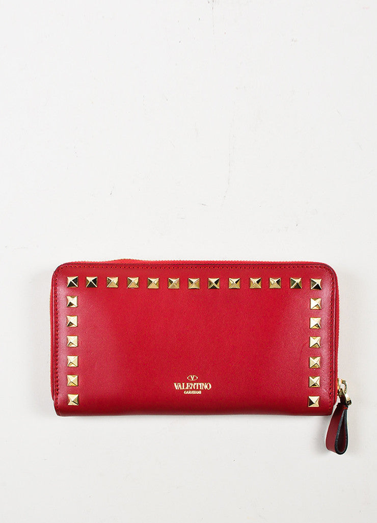 Valentino Red Leather Rockstud Zip Around Continental Wallet Frontview