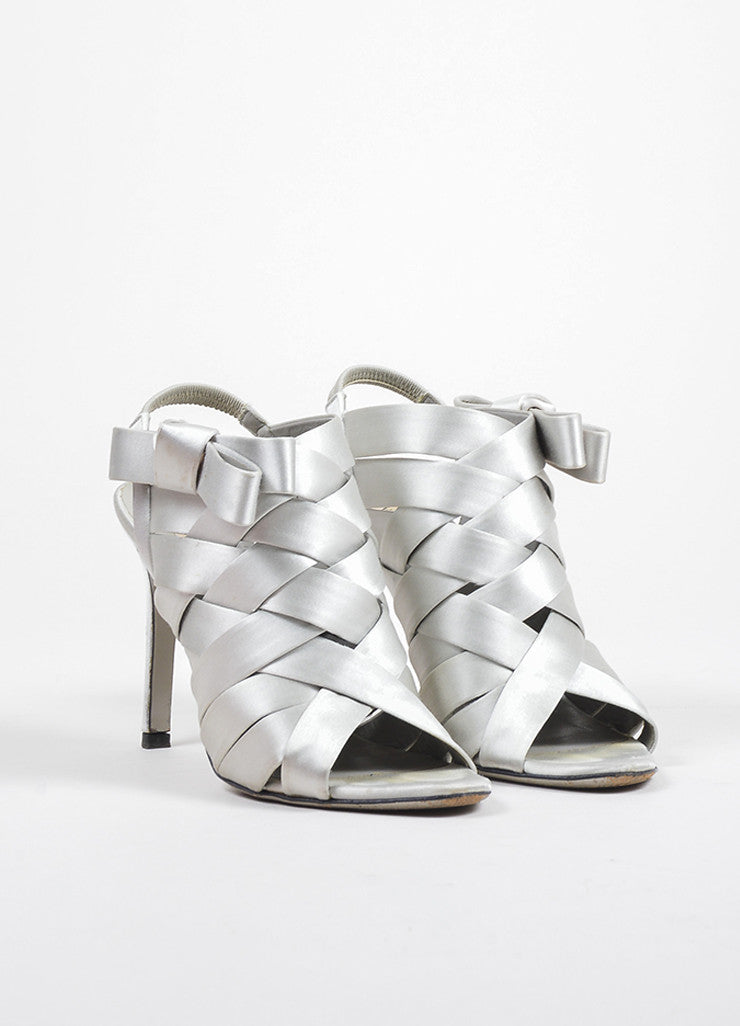 Valentino Grey Woven Satin Open Toe Bow Embellished PumpsFrontview