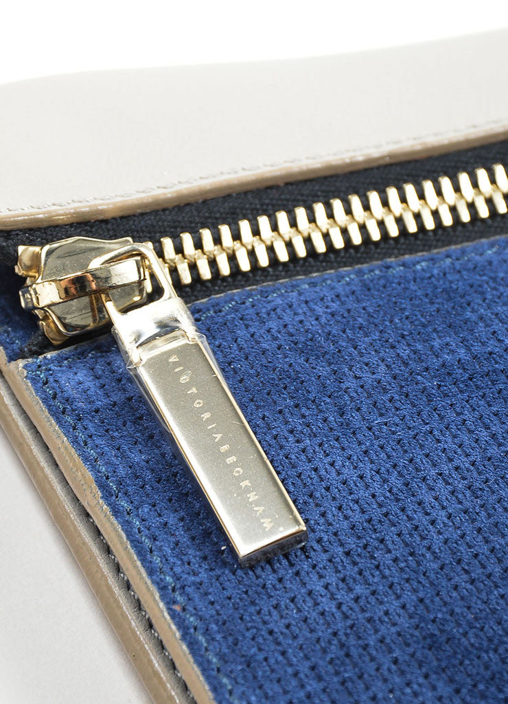 Grey and Blue Victoria Beckham Leather Suede Detachable Strap Zip Clutch Detail 3