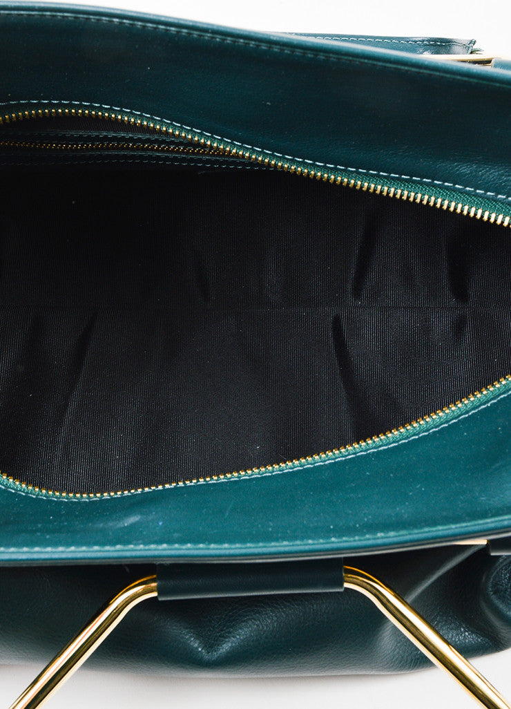 "Hunter Green Viktor & Rolf Leather Top Handle ""Bombette"" Satchel Bag Interior"